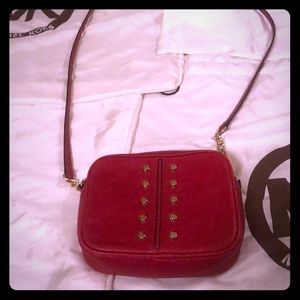 Michael Kors red crossbody purse with gold studs
